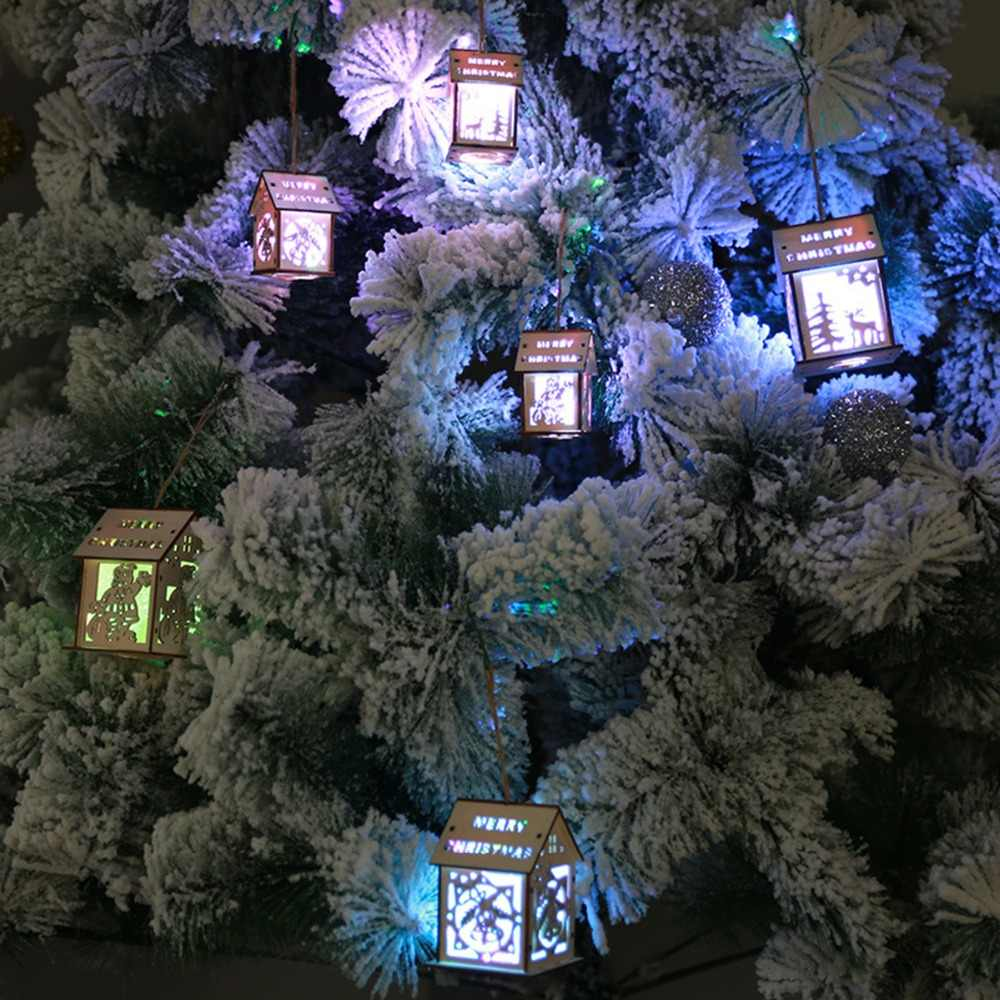 Christmas Tree Hanging Ornaments Colorful LED Lighting Wooden House Hanging Lamp Xmas Decor