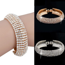 Luxury Charm Full Crystal Bracelets For Women Silver Gold Bracelets & Bangles Femme Bridal Wedding Jewelry Vintage Bracelet Cuff(China)