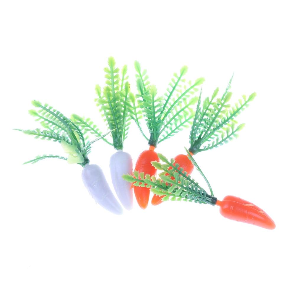 Plastic Mini-vegetables Carrot Miniature Simulation Radish Home Decor Kitchen Toy For Girls Gift 5 Pcs/Set