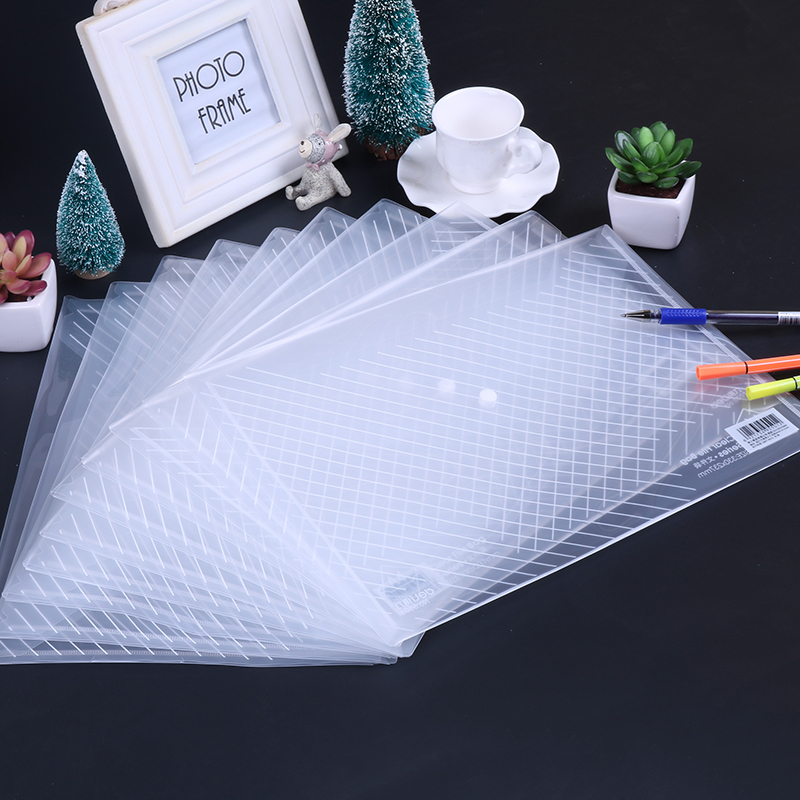 File Folder A4 Transparent Document Bag Rope Buckle Hasp Button Classified Storage Stationery Bag Office School 10pcs/lot
