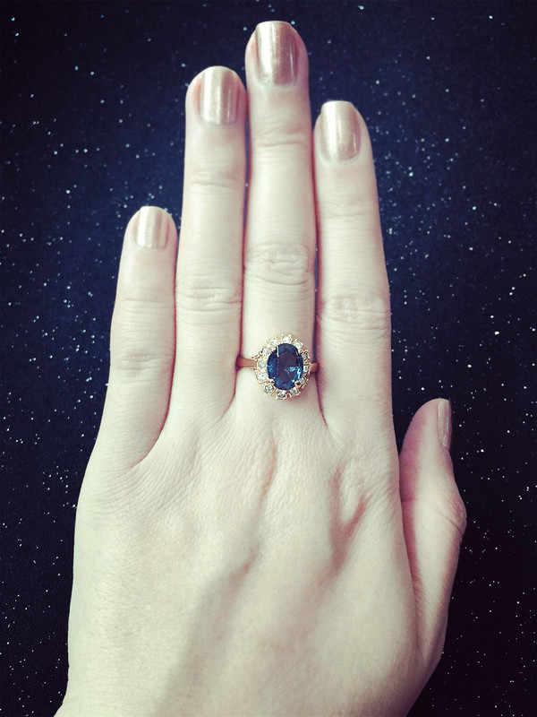 คุณภาพสูง Rose Gold สี Blue CZ Cubic Zirconia แหวน Bague แฟชั่น Cubic Zirconia เครื่องประดับสำหรับผู้หญิง anel R189