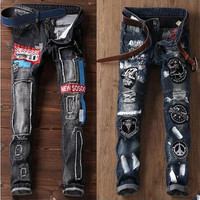 Men Jeans Brand Frayed Destroyed Slim Retro Cowboy Motorcycle Slacks Snowflake Spot Coating Pure Cotton Pants
