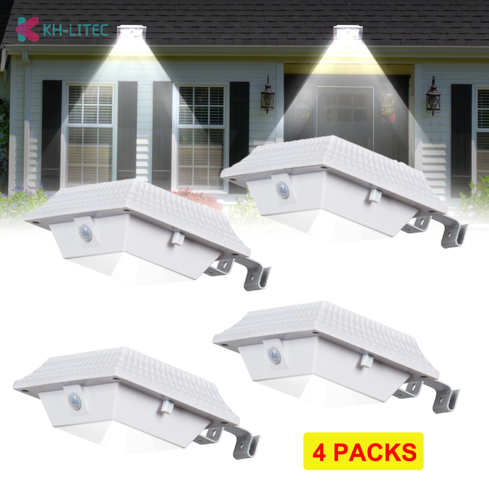 4 PCS Motion Sensor 12 LED Solar Gutter Lights Solar Powered Outdoor Lighting Garden Solar Sensor Wall Light For Street Yard
