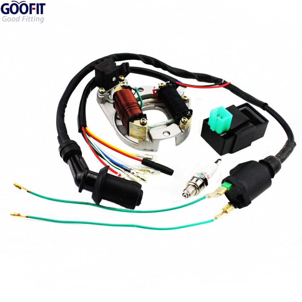 Goofit Racing Ignition Coil Cdi Spark Plug Regulator Rectifier Relay 110cc Atv Key Switch Wiring Rebuild Kit For 50cc 70cc 90cc 125cc Stator At7c