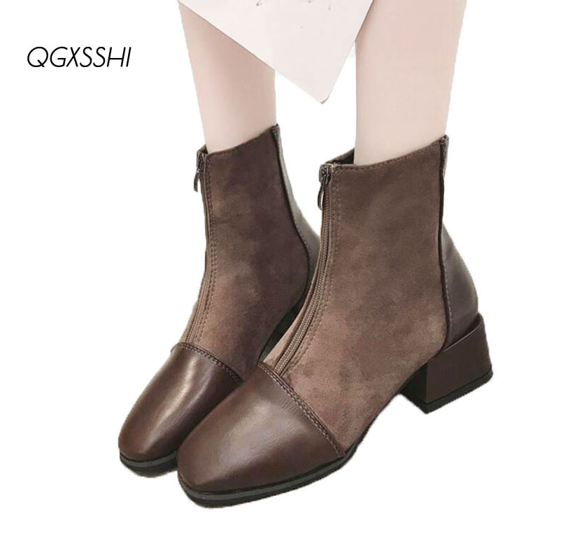 QGXSSHI 2019 Boots Women Fashion Black Chelsea Boots Woman Thick High Heels Ladies Shoes Suede With Pu Female Spring Booties