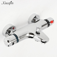 Xueqin Free Shipping Bathroom Bath Shower Faucets Water Control Valve Wall Mounted Ceramic Thermostatic Valve Mixer