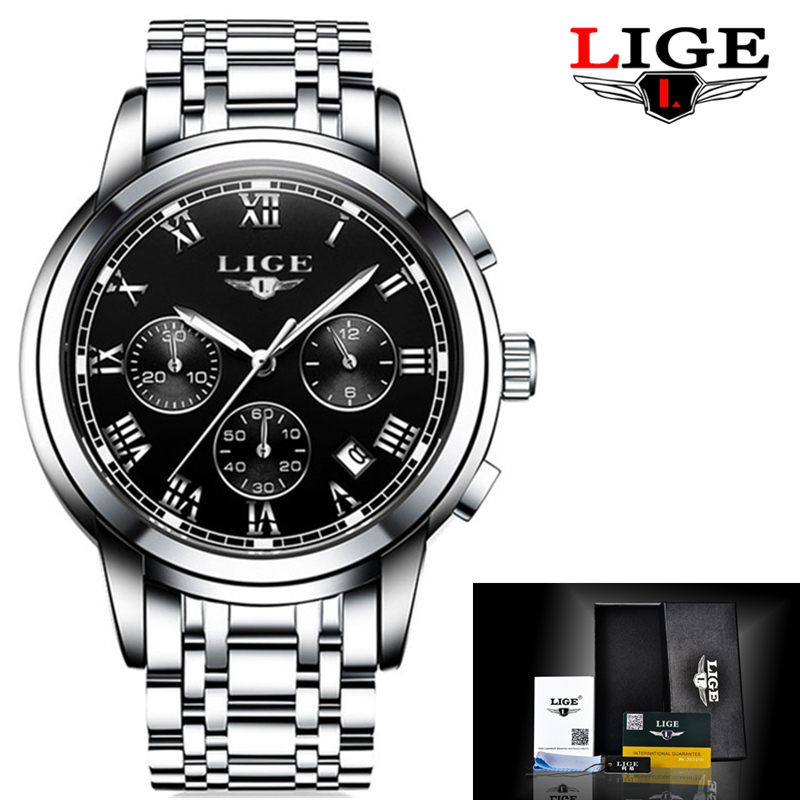Relojes LIGE Men Full Steel Watches Male Fashion Sports Watch Quartz Clock Military Waterproof Wristwatch Man Relogios Masculino lige 2017 new men s watches male quartz watch men real three dial luminous waterproof 30m outdoor sports leather watch man clock