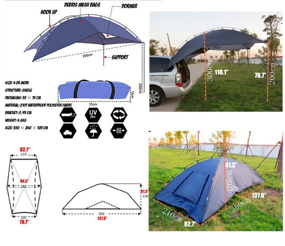 Grntamn Car Family Awning Camper Camping Tent With Pole For All
