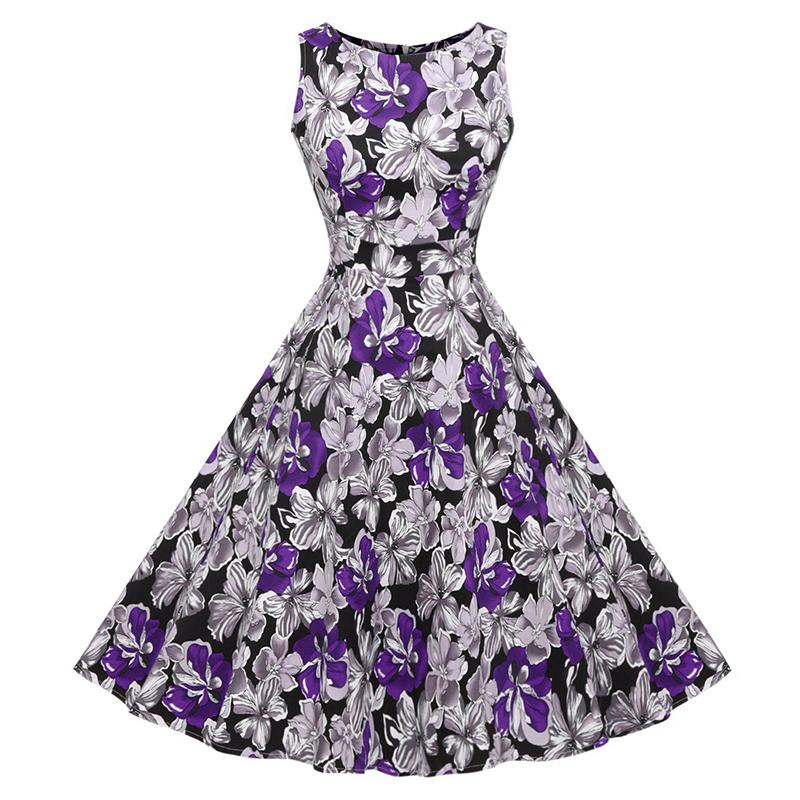 Kostlish Cotton Summer Dress Women 2017 Sleeveless Tunic 50s Vintage Dress Belt Elegant Print Rockabilly Party Dresses Sundress (83)