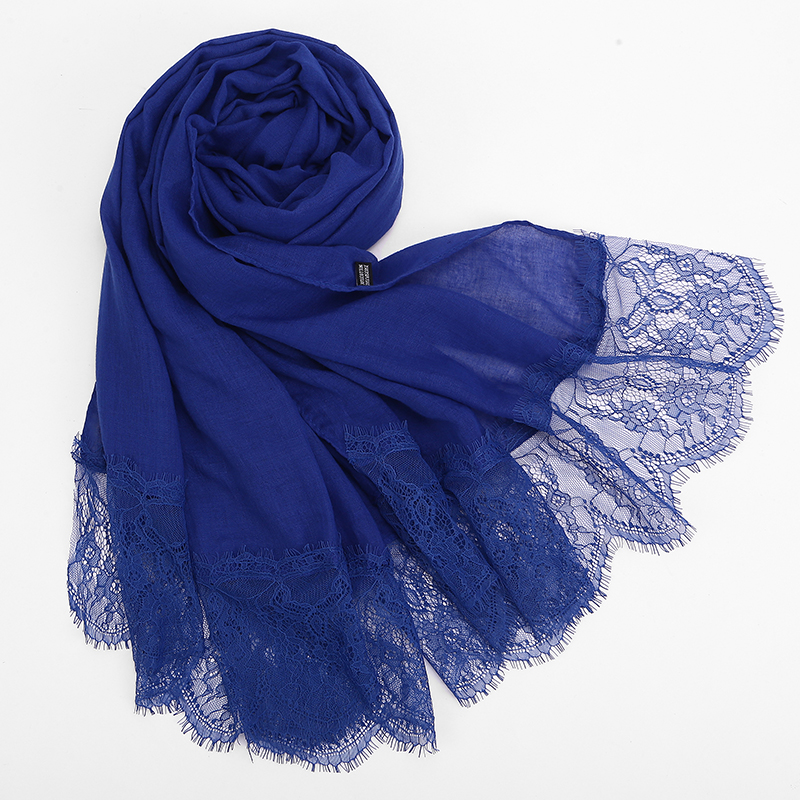 1 Pc Lace Edge Scarf Free Shipping Beautiful Hijabs Scarves Oversize Muffler Shawl Women Plain Solid Soft Viscose Head Scarf
