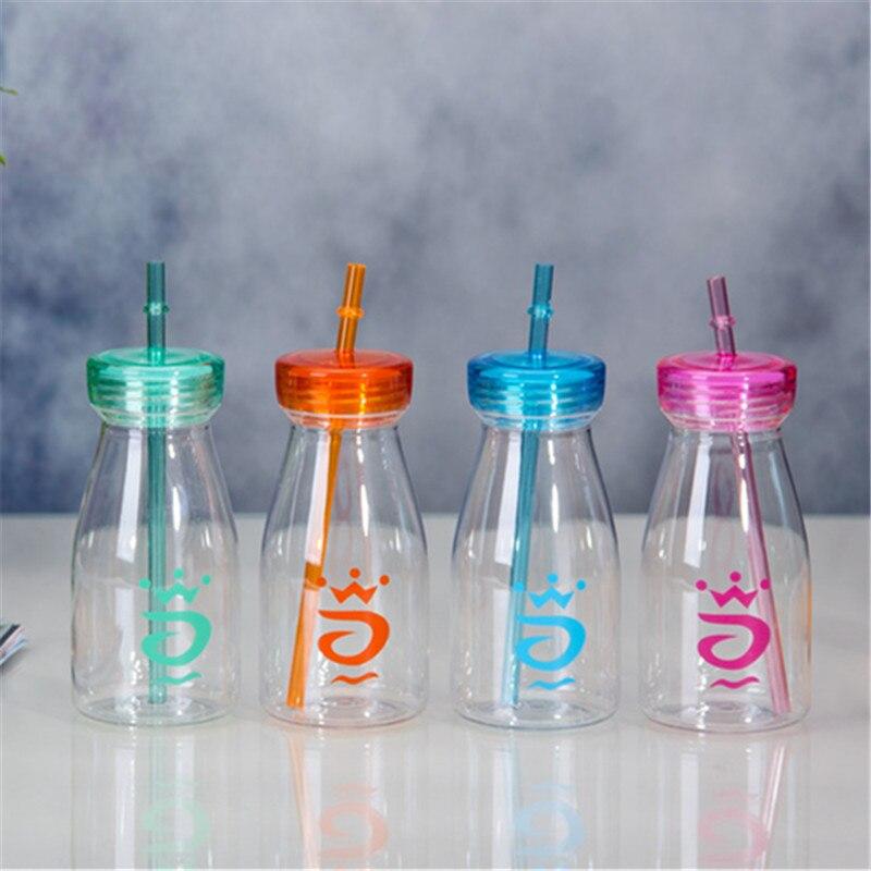 Nueva llegada 400 ml transparente botella de vidrio de jugo de fruta bebida fría