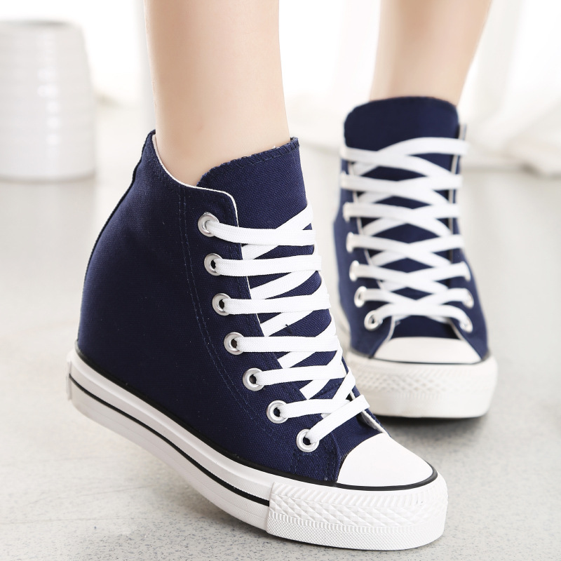 Spring And Autumn New 8 Cm Increase Canvas Shoes Casual And Comfortable Basic Models Female.