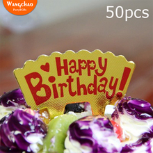 50pcs/lot Happy Birthday Party Cake Topper Decorations Kids Beautiful Favors and Gifts Baby Shower Decora Aluminized Paper 10pcs lot love heart balloon cake topper happy birthday party cake decoration kids beautiful favors and gifts baby shower decora