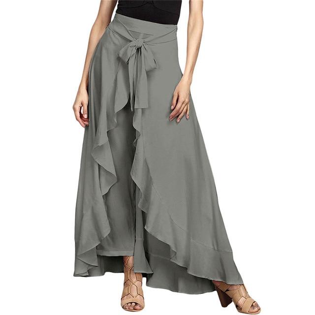 9bff510035 NEW Skirt 2018 Women's Chiffon High Split Tie-Waist Ruffle Long Loose  Palazzo Pants Overlay