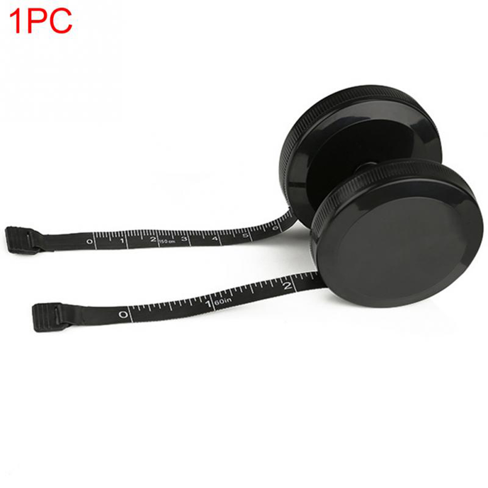 Portable 1.5m Retractable Ruler Centimeter/inch Tape Measure Mini Ruler Button Click Black Dual Side Great For Travel Camping