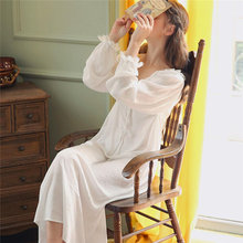 Long White Cotton Sexy V Neck Sleep Wear Night Shirt Home Dress Vintage Nightgown Princess Sleepwear 2018 Ladies Nightdress T350