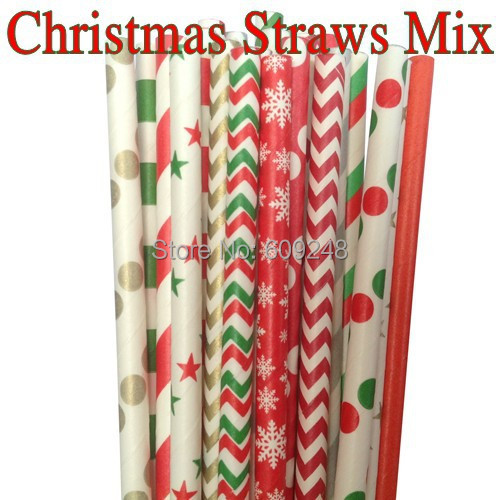 100pcs mixed colors green red gold silver striped chevron polka dot star christmas paper straws drinking - Why Are Red And Green Christmas Colors