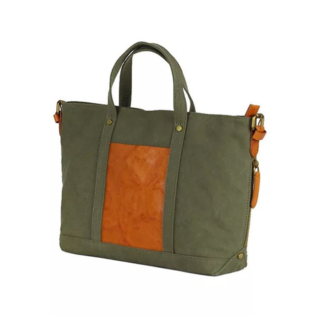 An Style Las Canvas Purse Casual Totes Army Green Color Top Handle Handbag Genuine Leather Female Large Shoulder Bag