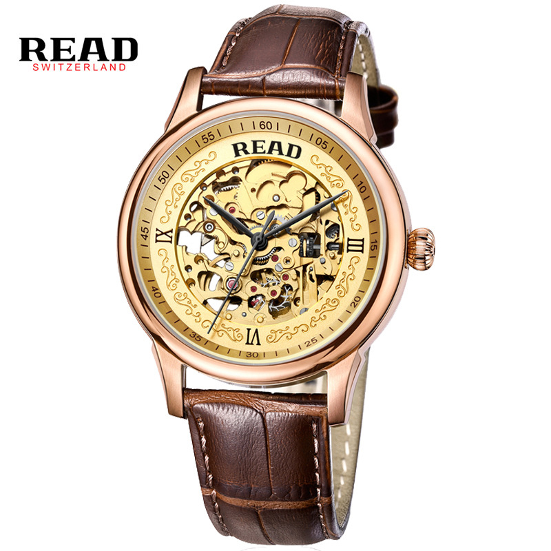 READ 2017 Brand Skeleton Hollow Fashion Mechanical Man Gift Clock Luxury Male Business Leather Wrist Military Sport Watch PR127 hot new fashion sport sewor brand skeleton men business clock steel army leather mechanical luxury gold wrist dress watch gift