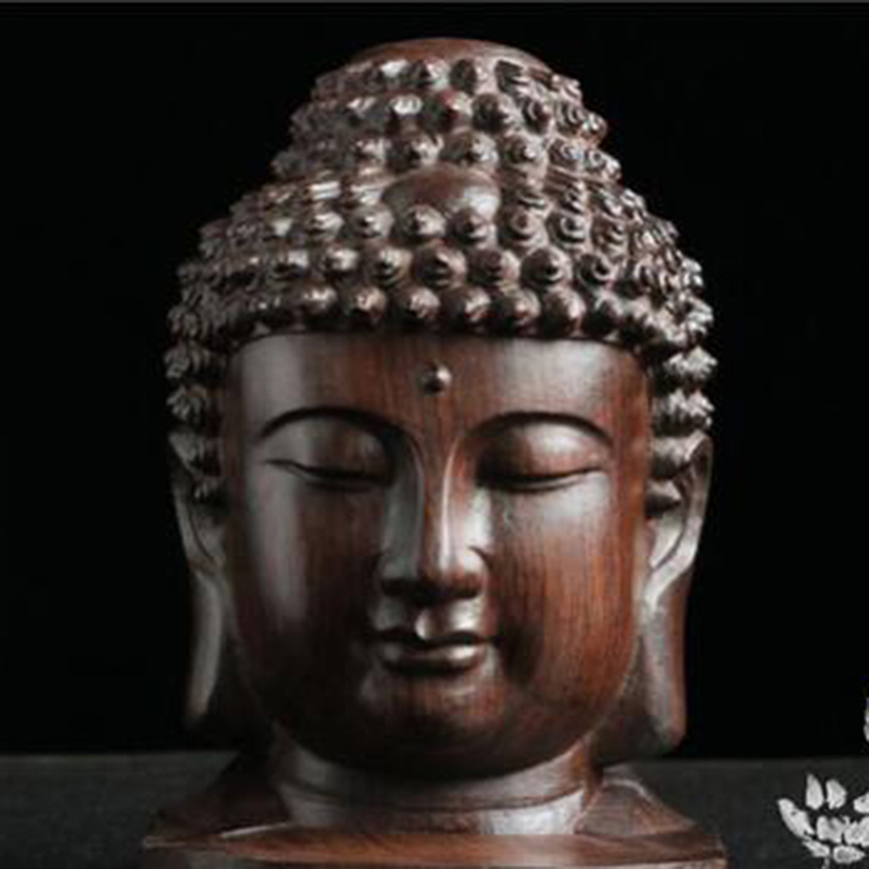 Buddha Statue Wood Wooden Figurine Mahogany India Buddha Head Statue Crafts Decorative Ornament