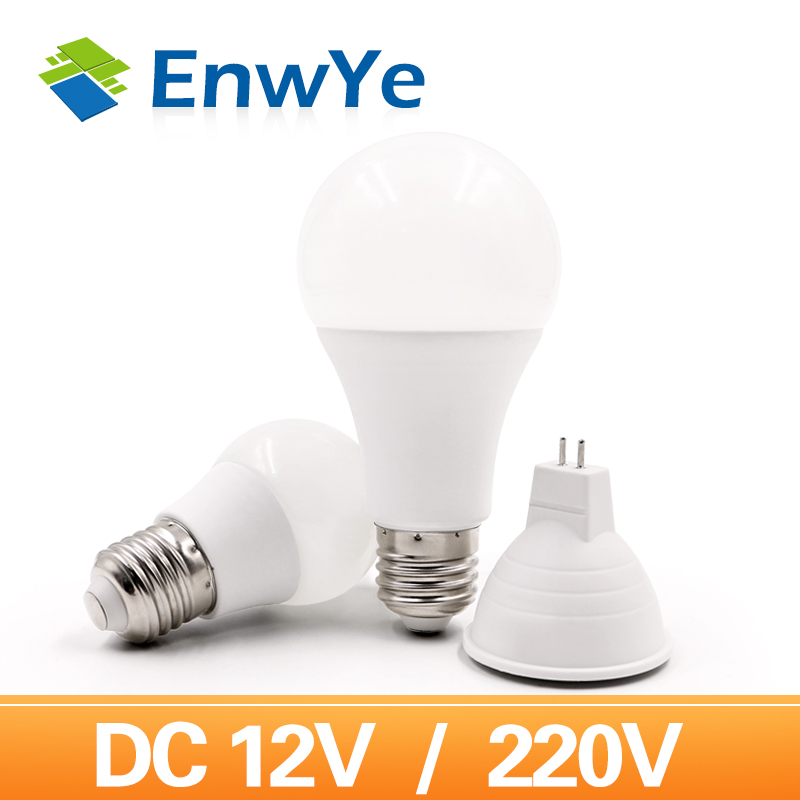 EnwYe E27 220V LED Bulb Lights 6W 9W 12W 15W DC 12V Led Lamp Energy Saving Lampada 12V LED Lighting Bulb MR16 Lamp Cup 6W