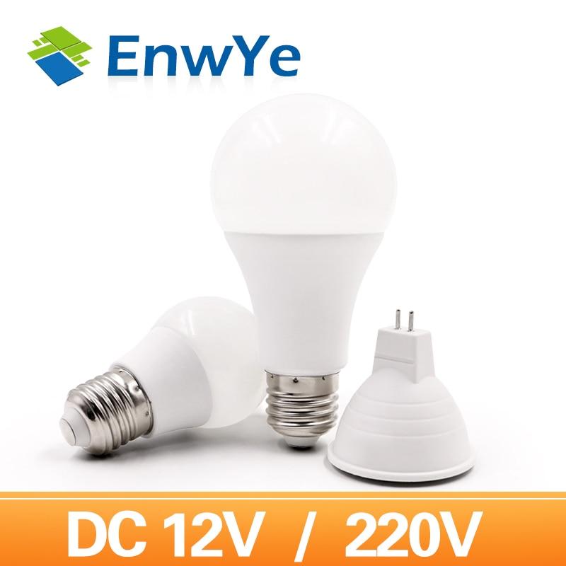 EnwYe E27 220V LED Bulb Lights 6W 9W 12W 15W DC 12V Led Lamp Energy Saving Lampada 12V LED Lighting Bulb MR16 Lamp Cup 6W