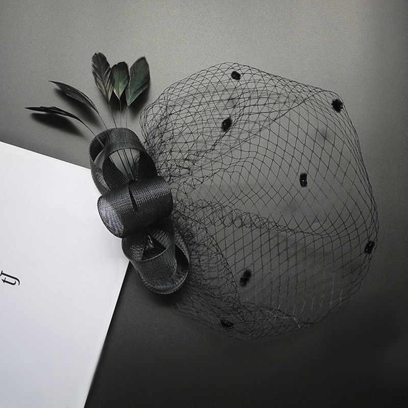 AHO079, nero/Bianco/Beige Tulle Netta A Breve Cerimonia Nuziale Floreale Piuma Veli Birdcage Capelli Clip Cap Accessori Per Capelli di Fascinator
