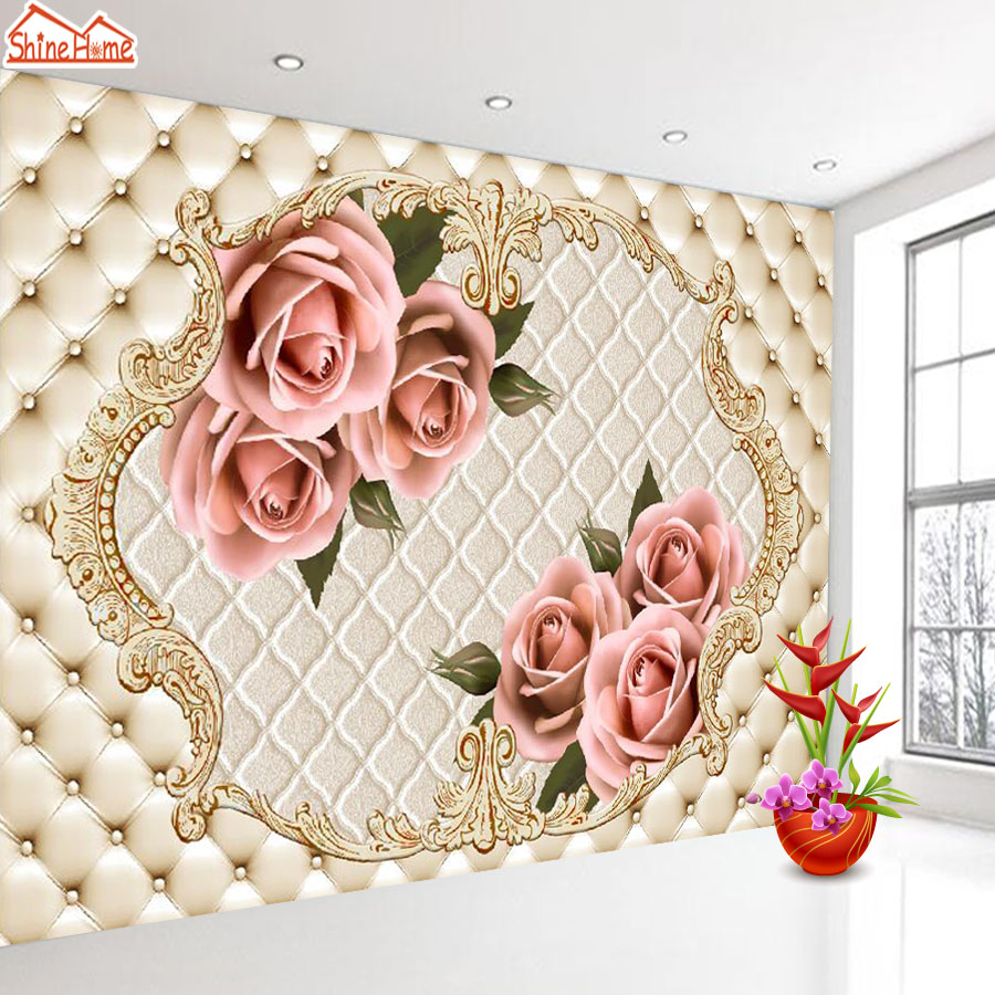 ShineHome-Large European Soft Roll Pillar Flower 3D Contact Paper 3d Modern Living Room Wall Murals Wahable Wallpaper Desktop shinehome lovely lily blossom flower wallpaper for bedroom murals roll for 3d walls wallpapers for 3 d living room wall paper