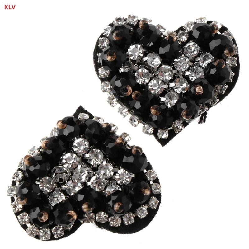 KLV 1 Pair Rhinestone Shoe Decoration Clothes DIY Shiny Black Floral Ornaments Charms For Party black floral kimono