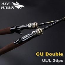 Cu vara de pesca dupla 1.8m, vara para pesca com acção rápida ul/l, de carbono equipamento de pesca com 2 seções