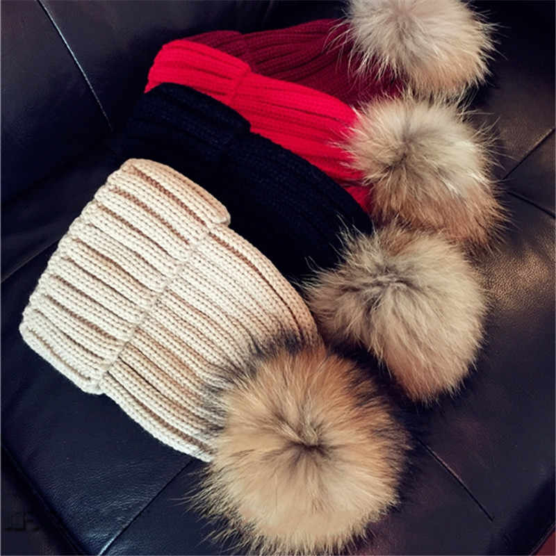 Real Racoon Fur Pom Pom Knit Winter hat Women Gift wool hatknitted cotton beanies cap