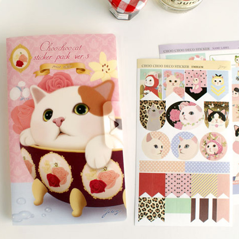 8 Pcs / Pack, Jetoy Cute Cat Suit Decorative Stickers Diary Stationery Stickers Affixed Diary Memo Pad Deco Sticker
