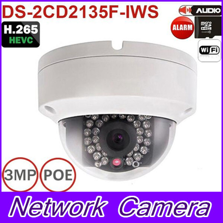 2016 New multi-language firmware DS-2CD2135F-IWS 3MP Mini Dome Camera IR Network IP Camera Support PoE and SD card store multi language ds 2cd2735f is new high quality varifocal lense 3mp ir dome security network ip cameras w audio alarm support poe