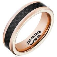 Moda Para Hombre De Tungsteno Anillos de Carburo de 6mm de Oro Rosa Negro Carbon Fiber Inlay Pulir Los Bordes de Ajuste Cómodo Tamaño 7-13