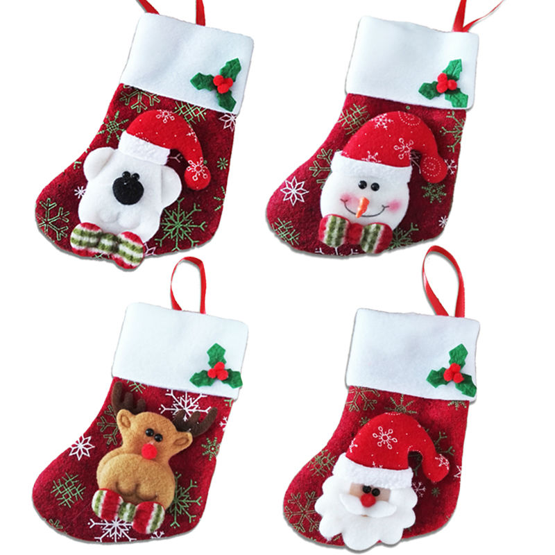2017 Happy New Year 6pcs Lot Christmas Decoration Stocking