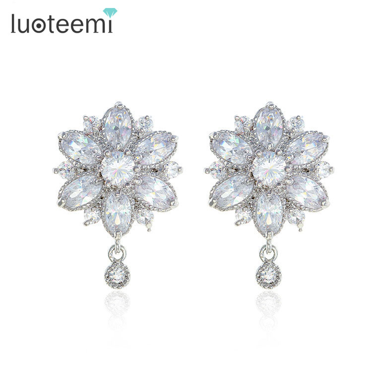 LUOTEEMI Fashion Vintage Jewelry Top Quality Marquise Cut Princess Flower CZ Earrings for Women Bridal Wedding Dress Accessories