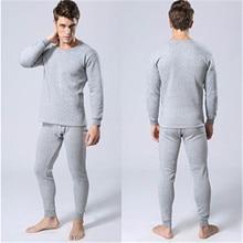 Thicken Plus Velvet Long John for Men Undershirts Pajamas Hot Sale Winter Warm Long Johns O-Neck Thermal Underwear Sets