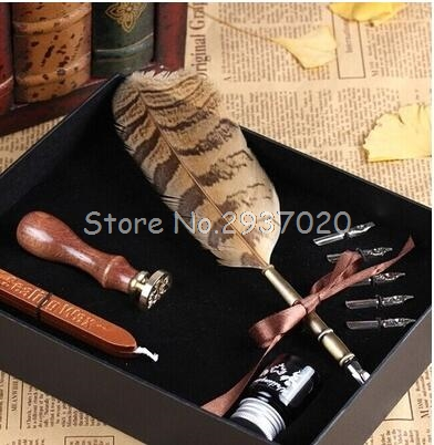 Vintage Fountain Pen Writing Ink Seal Wax Spare Tip Owl Stamp Feather Quill Dip Pen Set Antique Gift School Supply D14 vintage christmas deer horn wedding invitation gift wax seal sealing stamp sticks spoon gift box set kit