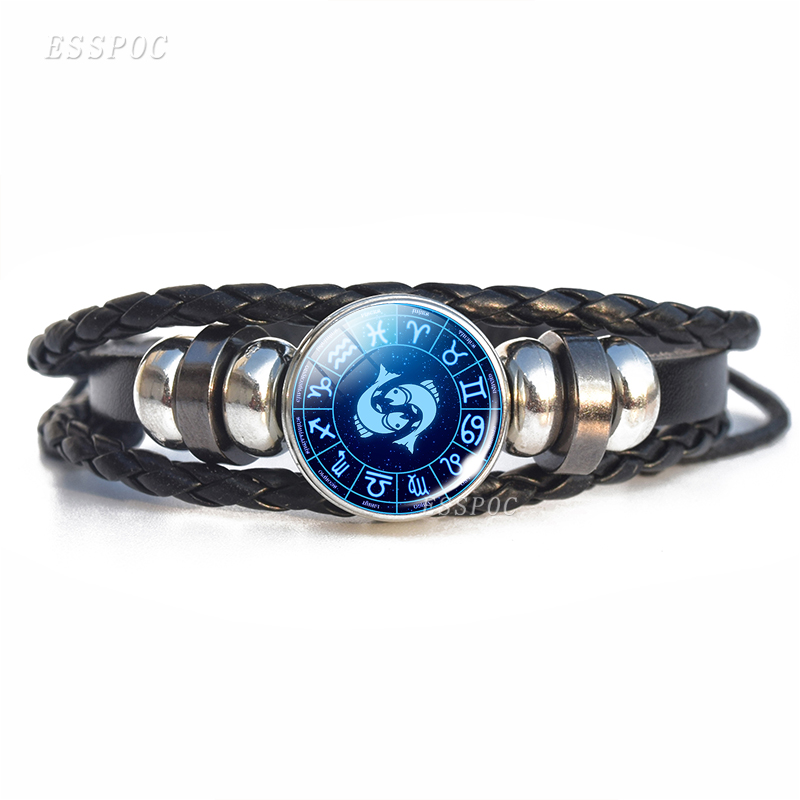 2019 New Arrival Men Bracelet 12 Zodiac Signs Glass Dome Charm Leather Bracelets Fashion Constellation Gifts For Men Birthday