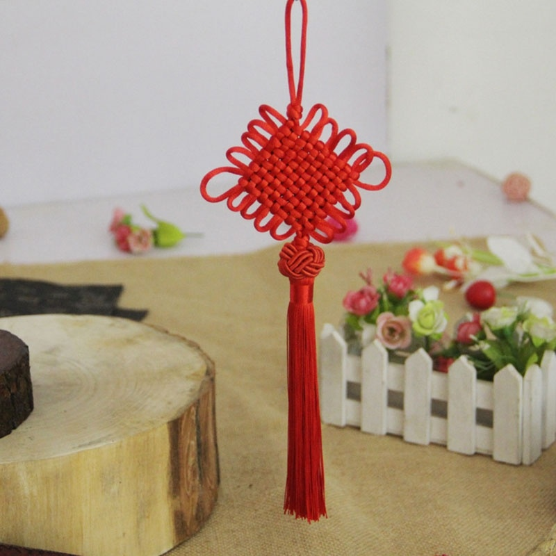 New Year Chinese Knot Knoting Hanging Decorations Mobile Phone and Folding Fan Hanging Decorations Wall Hanging Decorations in Tassel Fringe from Home Garden