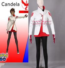 2016 Team valor Candela Cosplay Costume Pokemon Go Cosplay Clothing Full Set Top+Legging+Glove