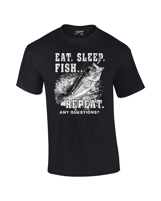 Fishinger T-Shirt Eat Sleep Fisher Repeat Cotton T-Shirt Fashion T Shirt Free Shipping 2017 New Fashion MenS Top Tee