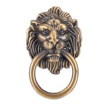 Внтэйдж голова льва Мебельная ручка голова льва ручка с кольцом шкаф ящик дверь тянуть ретро украшения 42*68 м