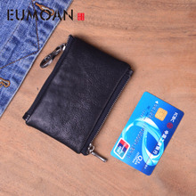 EUMOAN Handmade Genuine Leather Coin Purse Men Woman Vintage Small Mini Zipper Wallets Case Storage Bag Card Holder Pocket Male