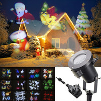 Holiday Decoration Waterproof Outdoor LED Stage Lights 12Pattern Christmas Laser Snowflake Projector Lamp Home Garden Star