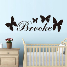 DCTOP Personalised Butterfly With Any Girls Name Wall Sticker For Kids Rooms Home Decor Custom Name Decal
