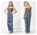 Plus size chiffon print jumpsuits for women full length pants loose trousers ladies casual soft playsuit female set summer style