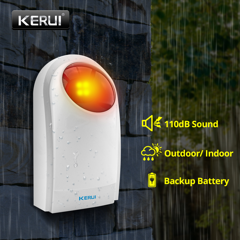 KERUI Wireless Outdoor Waterproof Sound Strobe Flash Siren With 120db Alarm Sound And Red Flash Lighting Back Up Battery