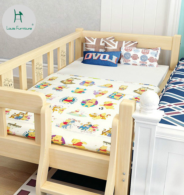 Louis Fashion Children Beds Solid Wood Belt Guardrail Single Baby Widening Small Splicing
