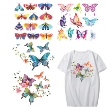 Iron on Butterfly Patches for Girl Clothing DIY T-shirt Dresses Applique Heat Transfer Vinyl Flower Patch Stickers Clothes